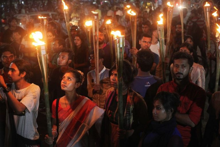 Bangladesh Student Union stage a torch light procession rally to protest the murder of Abrar Fahad, a student of Bangladesh University of Engineering and Technology (BUET),  who was allegedly beaten to death by Bangladesh Chhatra League men. Photo has taken on 08 October 2019 from Dhaka University, Bangladesh.  (Photo by Syed Mahamudur Rahman/NurPhoto via Getty Images)